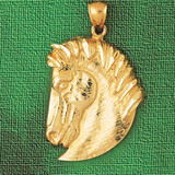 Horse Head Charm Bracelet or Pendant Necklace in Yellow, White or Rose Gold DZ-1762 by Dazzlers
