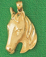 Horse Head Charm Bracelet or Pendant Necklace in Yellow, White or Rose Gold DZ-1764 by Dazzlers