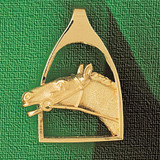 Horse Head Charm Bracelet or Pendant Necklace in Yellow, White or Rose Gold DZ-1765 by Dazzlers