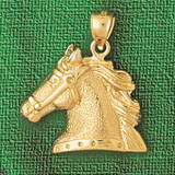 Horse Head Charm Bracelet or Pendant Necklace in Yellow, White or Rose Gold DZ-1768 by Dazzlers