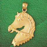 Horse Head Charm Bracelet or Pendant Necklace in Yellow, White or Rose Gold DZ-1769 by Dazzlers
