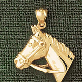Horse Head Charm Bracelet or Pendant Necklace in Yellow, White or Rose Gold DZ-1773 by Dazzlers