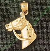 Horse Head Charm Bracelet or Pendant Necklace in Yellow, White or Rose Gold DZ-1774 by Dazzlers