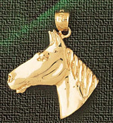 Horse Head Charm Bracelet or Pendant Necklace in Yellow, White or Rose Gold DZ-1775 by Dazzlers