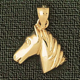 Horse Head Charm Bracelet or Pendant Necklace in Yellow, White or Rose Gold DZ-1776 by Dazzlers