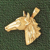 Horse Head Charm Bracelet or Pendant Necklace in Yellow, White or Rose Gold DZ-1778 by Dazzlers