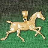 Horse Charm Bracelet or Pendant Necklace in Yellow, White or Rose Gold DZ-1780 by Dazzlers