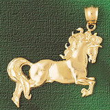 Horse Charm Bracelet or Pendant Necklace in Yellow, White or Rose Gold DZ-1787 by Dazzlers