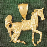 Horse Charm Bracelet or Pendant Necklace in Yellow, White or Rose Gold DZ-1792 by Dazzlers