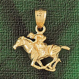 Horse Charm Bracelet or Pendant Necklace in Yellow, White or Rose Gold DZ-1794 by Dazzlers