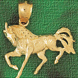 Horse Charm Bracelet or Pendant Necklace in Yellow, White or Rose Gold DZ-1795 by Dazzlers