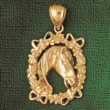Horse Head Charm Bracelet or Pendant Necklace in Yellow, White or Rose Gold DZ-1805 by Dazzlers