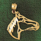 Horse Head Charm Bracelet or Pendant Necklace in Yellow, White or Rose Gold DZ-1807 by Dazzlers