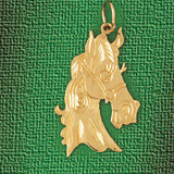 Horse Head Charm Bracelet or Pendant Necklace in Yellow, White or Rose Gold DZ-1808 by Dazzlers