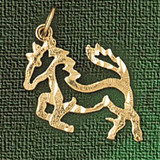 Horse Charm Bracelet or Pendant Necklace in Yellow, White or Rose Gold DZ-1812 by Dazzlers