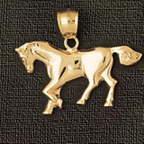 Horse Charm Bracelet or Pendant Necklace in Yellow, White or Rose Gold DZ-1815 by Dazzlers