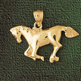 Horse Charm Bracelet or Pendant Necklace in Yellow, White or Rose Gold DZ-1816 by Dazzlers