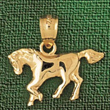 Horse Charm Bracelet or Pendant Necklace in Yellow, White or Rose Gold DZ-1817 by Dazzlers