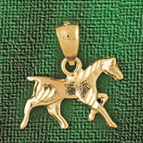 Horse Charm Bracelet or Pendant Necklace in Yellow, White or Rose Gold DZ-1818 by Dazzlers