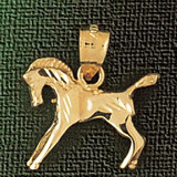 Horse Charm Bracelet or Pendant Necklace in Yellow, White or Rose Gold DZ-1819 by Dazzlers