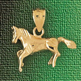 Horse Charm Bracelet or Pendant Necklace in Yellow, White or Rose Gold DZ-1820 by Dazzlers