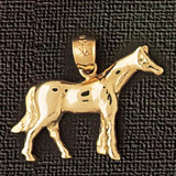 Horse Charm Bracelet or Pendant Necklace in Yellow, White or Rose Gold DZ-1821 by Dazzlers