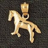 Horse Charm Bracelet or Pendant Necklace in Yellow, White or Rose Gold DZ-1822 by Dazzlers