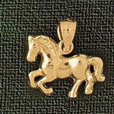 Horse Charm Bracelet or Pendant Necklace in Yellow, White or Rose Gold DZ-1825 by Dazzlers