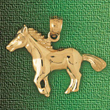 Horse Charm Bracelet or Pendant Necklace in Yellow, White or Rose Gold DZ-1826 by Dazzlers