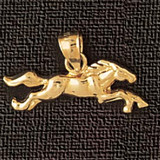 Horse Charm Bracelet or Pendant Necklace in Yellow, White or Rose Gold DZ-1828 by Dazzlers