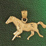 Horse Charm Bracelet or Pendant Necklace in Yellow, White or Rose Gold DZ-1831 by Dazzlers