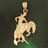 Cowboy On Wild Horse Charm Bracelet or Pendant Necklace in Yellow, White or Rose Gold DZ-1837 by Dazzlers