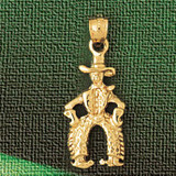 Cowboy Charm Bracelet or Pendant Necklace in Yellow, White or Rose Gold DZ-1845 by Dazzlers