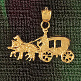Carriage With Horse Charm Bracelet or Pendant Necklace in Yellow, White or Rose Gold DZ-1852 by Dazzlers