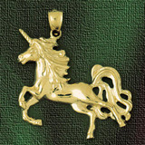Unicorn Horse Charm Bracelet or Pendant Necklace in Yellow, White or Rose Gold DZ-1855 by Dazzlers