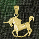 Unicorn Horse Charm Bracelet or Pendant Necklace in Yellow, White or Rose Gold DZ-1860 by Dazzlers