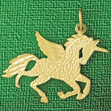Pegasus Horse Charm Bracelet or Pendant Necklace in Yellow, White or Rose Gold DZ-1873 by Dazzlers