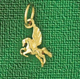 Pegasus Horse Charm Bracelet or Pendant Necklace in Yellow, White or Rose Gold DZ-1875 by Dazzlers