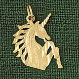 Unicorn Head Charm Bracelet or Pendant Necklace in Yellow, White or Rose Gold DZ-1880 by Dazzlers