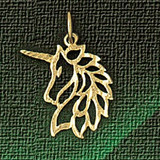 Unicorn Head Charm Bracelet or Pendant Necklace in Yellow, White or Rose Gold DZ-1882 by Dazzlers