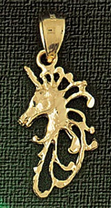 Unicorn Head Charm Bracelet or Pendant Necklace in Yellow, White or Rose Gold DZ-1884 by Dazzlers