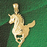 Unicorn Head Charm Bracelet or Pendant Necklace in Yellow, White or Rose Gold DZ-1887 by Dazzlers