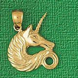 Unicorn Head Charm Bracelet or Pendant Necklace in Yellow, White or Rose Gold DZ-1888 by Dazzlers
