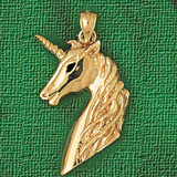 Unicorn Head Charm Bracelet or Pendant Necklace in Yellow, White or Rose Gold DZ-1890 by Dazzlers