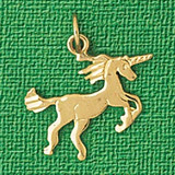 Unicorn Charm Bracelet or Pendant Necklace in Yellow, White or Rose Gold DZ-1897 by Dazzlers