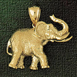 Elephant Charm Bracelet or Pendant Necklace in Yellow, White or Rose Gold DZ-2307 by Dazzlers