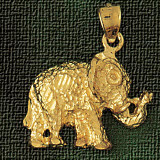 Elephant Charm Bracelet or Pendant Necklace in Yellow, White or Rose Gold DZ-2308 by Dazzlers