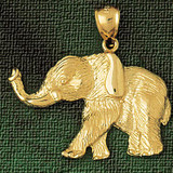 Elephant Charm Bracelet or Pendant Necklace in Yellow, White or Rose Gold DZ-2312 by Dazzlers