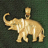 Elephant Charm Bracelet or Pendant Necklace in Yellow, White or Rose Gold DZ-2313 by Dazzlers