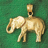 Elephant Charm Bracelet or Pendant Necklace in Yellow, White or Rose Gold DZ-2315 by Dazzlers